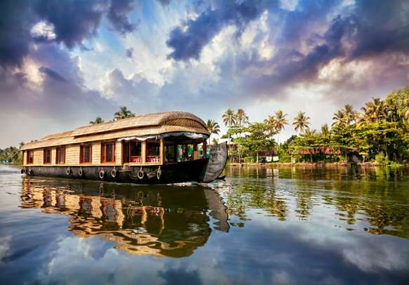 Stay on a houseboat in Alleppey on this Kerala tour..