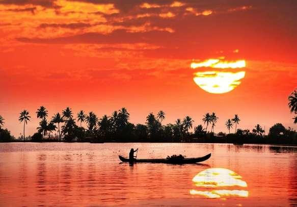 Beautiful sunset view at Kumarakom backwaters