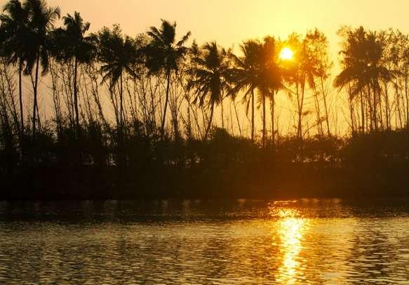 Breathtaking sunrise on backwaters