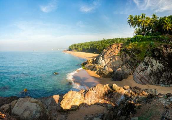 The glowing morning on Kovalam Beach