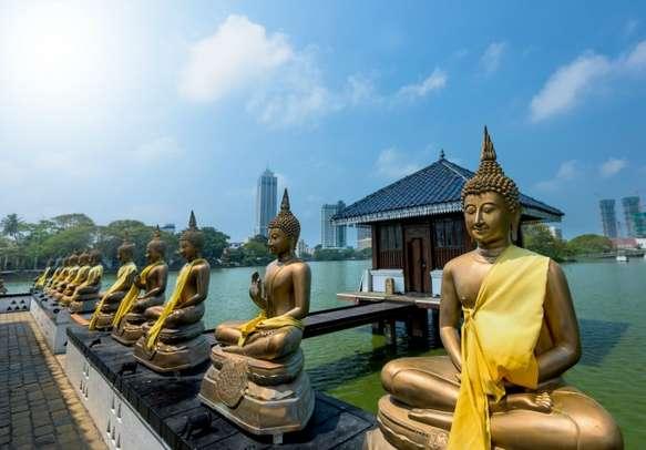 Buddha statues in Seema Malaka temple in Colombo