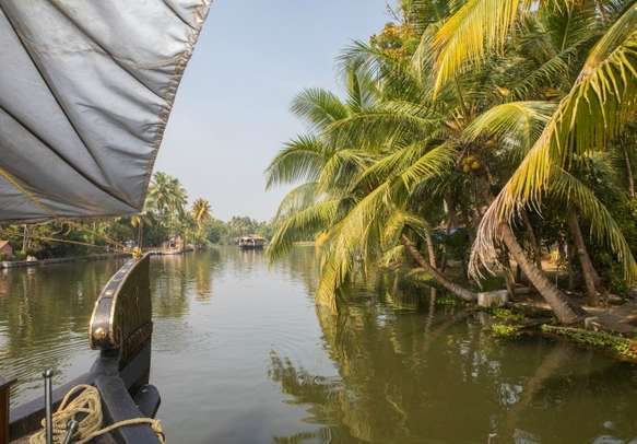 A view from the deck of a houseboat in Kerala backwaters