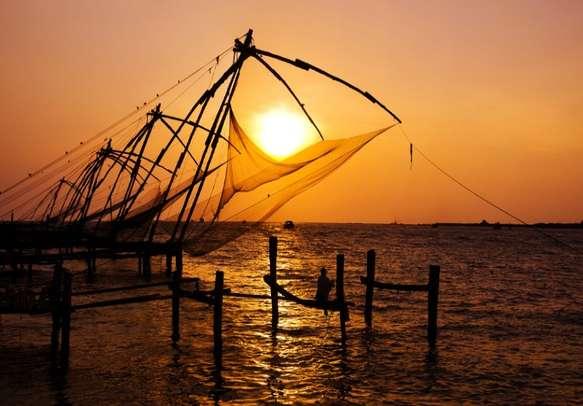 The Chinese fishing nets on Kochi backwaters