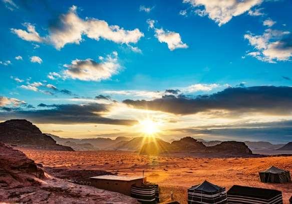Scintillating sunset in Wadi Rum Desert