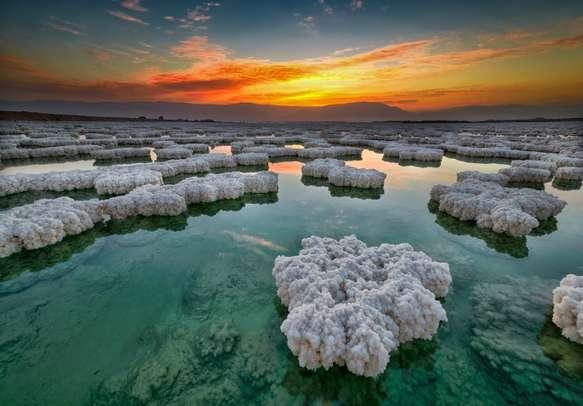 Crystal sunrise over Dead Sea