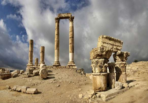 View of the ruins at the Citadel in Amman