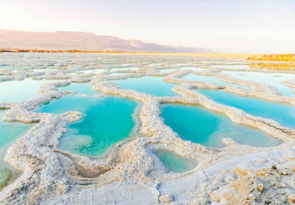 Dead Sea coastline with salt crystals
