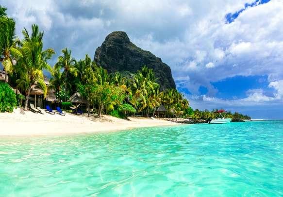 Le Morne beach on the Mauritius Island.