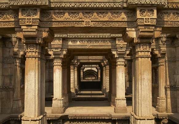 Ornately carved stonework of the Adalaj Stepwell