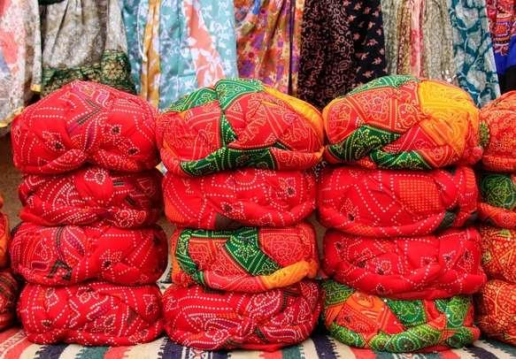 Bandhani cloth material in Gujarat local markets