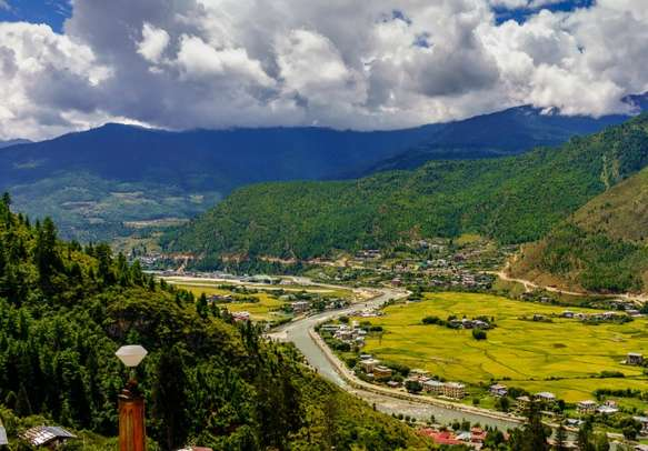 View from above of the city of Paro located in the Paro valley