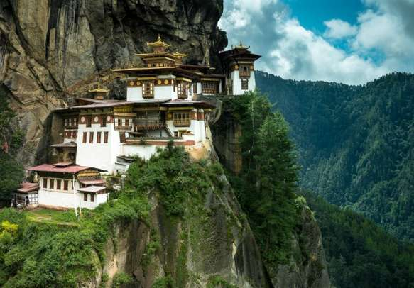 View of the famous Tiger's Nest monastery at Paro in Bhutan