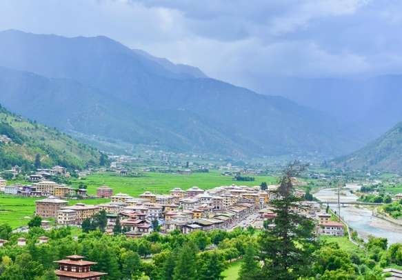 Paro City and the Himalayan Mountain Ranges in Bhutan