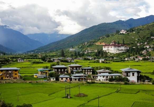 Paro Rinpung Dzong and Museum with Traditional Bhutanese houses