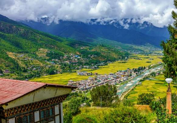View from above of the city of Paro