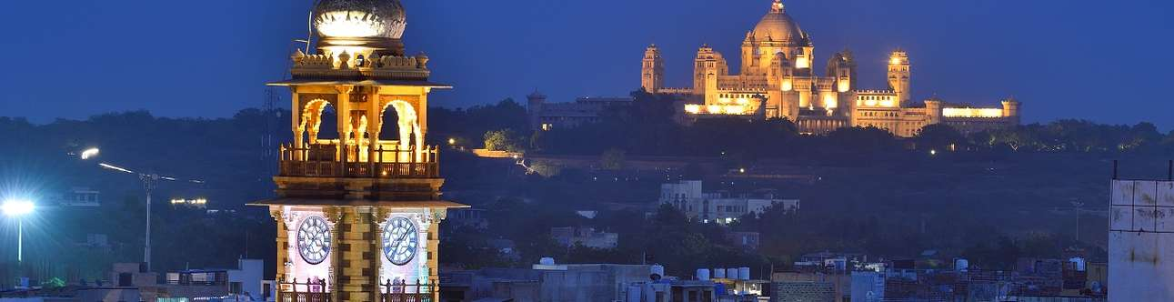 The famous clock tower in Jodhpur lightening up the city at night