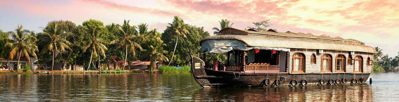 A beautiful houseboat in the backwaters of Kerala