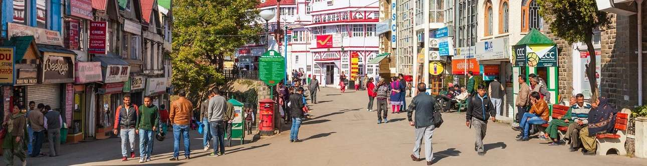 The famous shopping street in Shimla