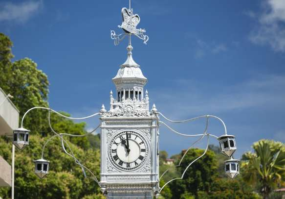 Famous clock tower in Victoria, the capital city of Seychelles