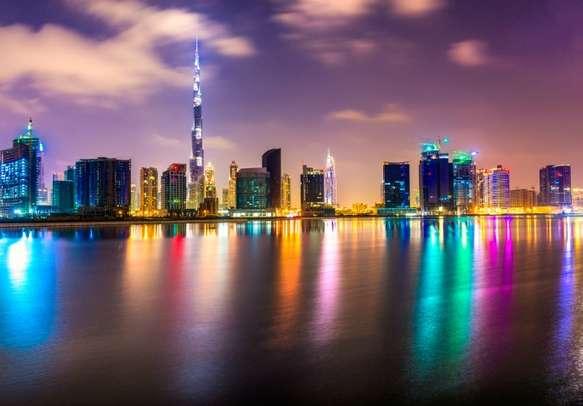 An evening view of glittering Burj Khalifa, Dubai