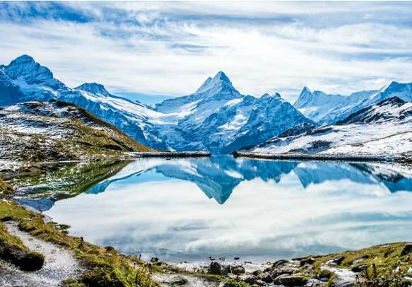 Swiss Alps water reflection above Grindelwald
