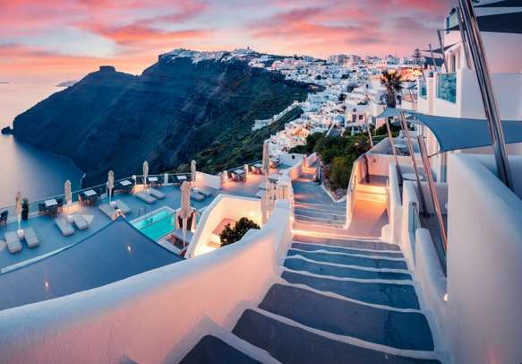 A lovely evening view of Santorini island