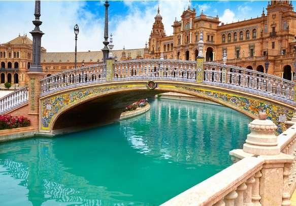 See the Sevilla Plaza Se Espana Bridge in Seville