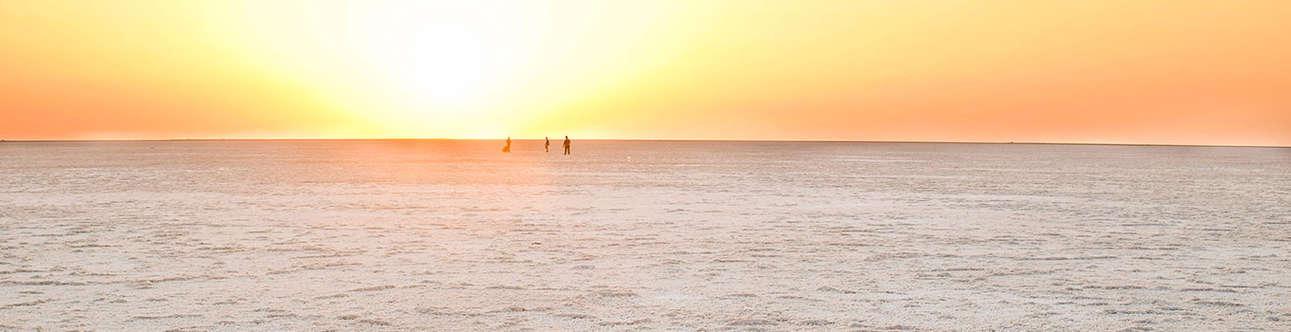 Enjoy the beauty of white salt desert