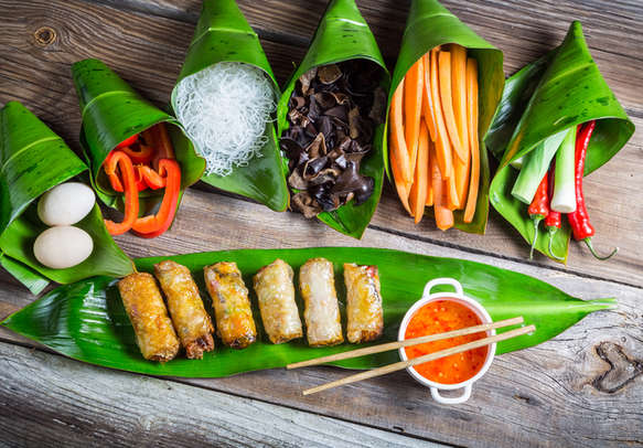Savor spring rolls with sweet and sour sauce in Vietnam