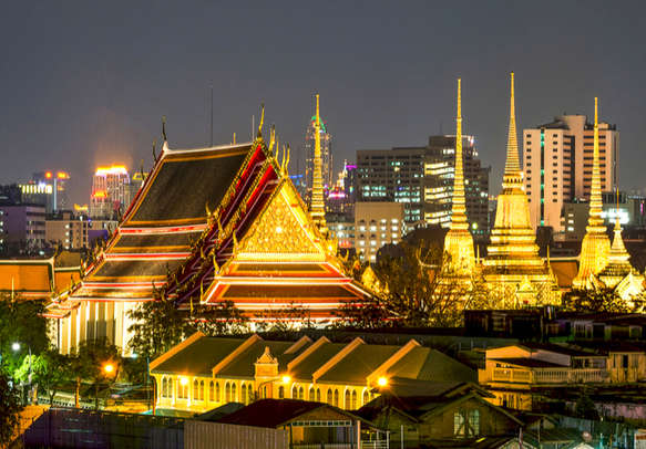 An evening view of Wat Pho temple complex in Thailand