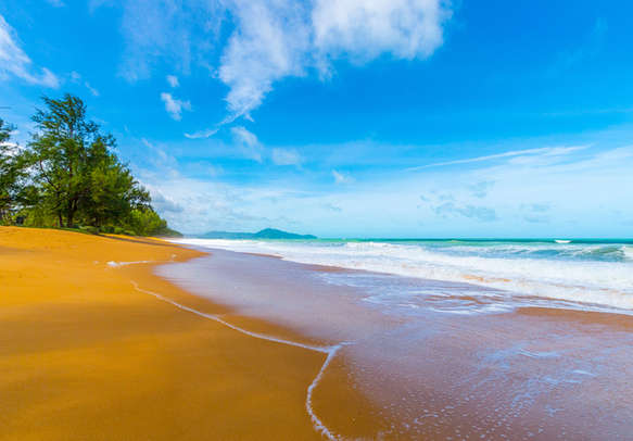 View of a beautiful beach in Phuket on a bright sunny day
