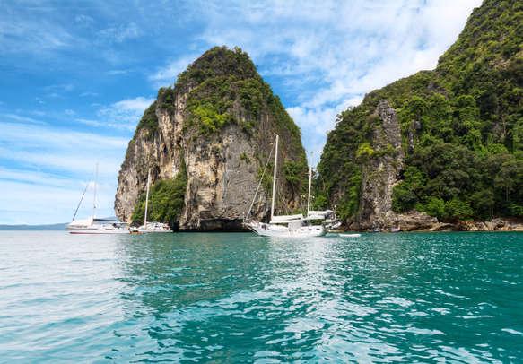 Tourist yachts near Koh Poda Island in Thailand