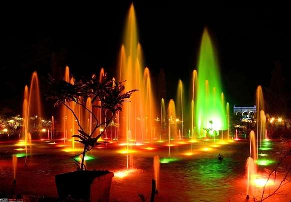 Scenic fountains view at night