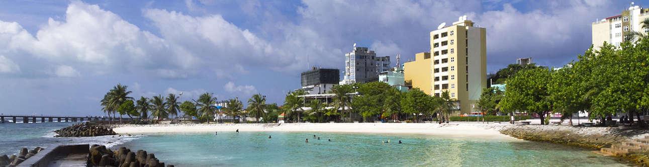 A man-made beach in Maldives