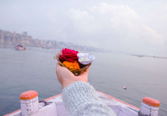 Puja ceremony on the banks of Ganga River