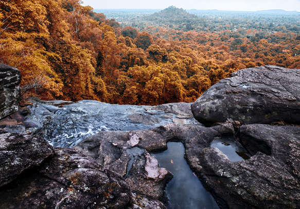 Gushing waterfall forest river in Athirapally