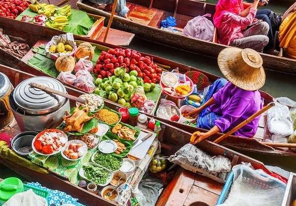 Visit the charming floating market