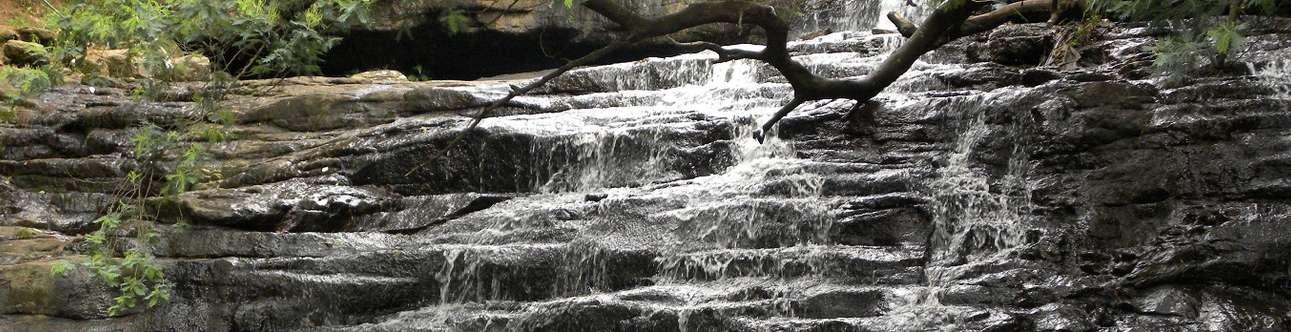 Enjoy in the natural waterfall