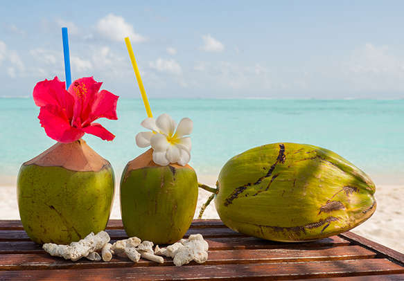 Have a tropical fresh coconut water