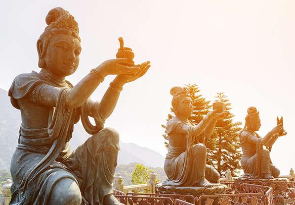 Buddhist statues at lantau island