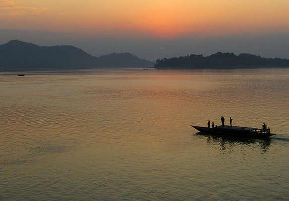 Sunset over Brahmaputra River