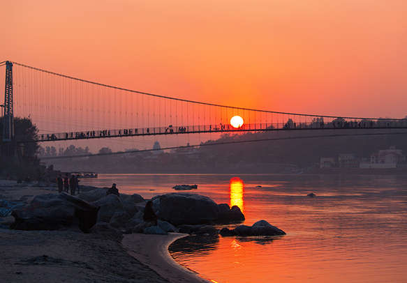 Sunset over the Ganga River