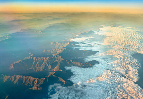 The Naga Hills, mountains on the border of India and Burma, as seen from an airplane