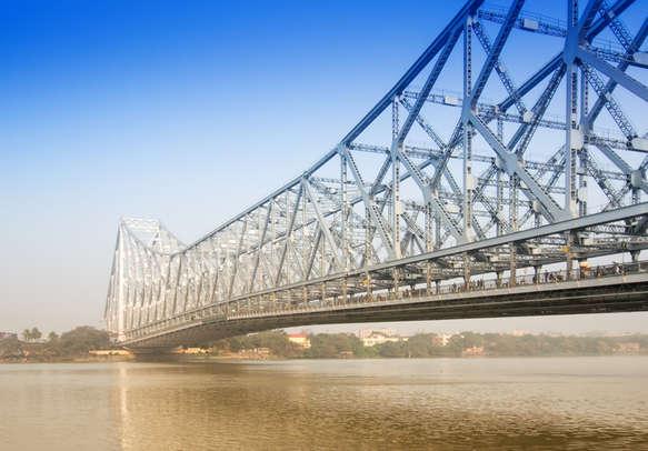Famous Howrah Bridge connecting Howrah