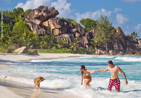 Romantic couple relaxes on a beach