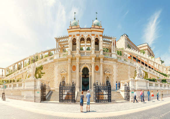 The Varkert Bazaar and the Royal Palace garden pavilion in Budapest, Hungary