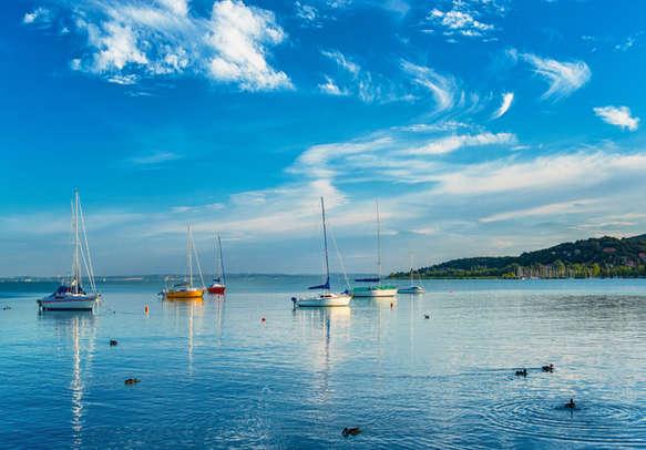 Sailboats in the port at lake Balaton, Hungary in summer