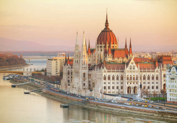 Parliament building in Budapest, Hungary at sunrise