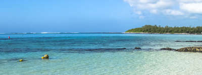 The beautiful view of Blue Bay in Mauritius