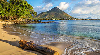 The beautiful view of Flic en Flac in Mauritius